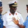 From left: Chief of  Air Staff Air  Marshall, Alex Badeh; Chief of Naval Staff, Vice  Admiral Dele Ezeoba; and Inspector-General of  Police, Mohammed Dikko Abubakar, after a security meeting with President  Goodluck Jonathan  at the Presidential Villa, Abuja, on Friday.