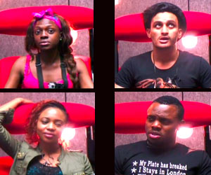Nigeria's reps Beverly (top left) and Melvin (Bottom right) at their BBA The Chase first diary session