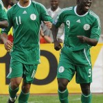 WHO MAKES FINAL LIST? ••• Osaze Odemwingie (L) and Obafemi Martins celebrate on the way to South Africa. Their names are on Lagerback's provisional 44-man list.