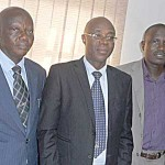 From left, Mr.Tajudeen Ejalonibu, Chairman Publicity, Event and Trade Services committee of Nigeria Computer Society (NCS), Prof. Charles Uwadia, President and and Mr Afolabi Salisu during a press conference last week ahead of the forum on x-raying the impact of IT on development of Nigeria. Photo by Emeka Aginam