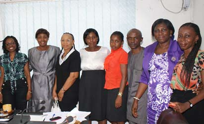 Roundtable conference on Child Nutrition held at Vanguard Head office, Lagos on Thursday. Pix from left Mrs Umego Adaora, Consumer Protection Council; Ms Flora Archibong; Mrs Ogochukwu Mainasara representing DG NAFDAC; Mrs Iquo Ukoh, Marketing services Director, Nestle Foods; Mrs Funmi Ajumobi, Kiddies Editor, Vamnguard; Dr Chika Ndiokwelu, Natioanl President, Dieticians Association of Nigeria; Mrs Morenike Taire, Vanguard; Mrs Adu Morenikeji, Consumer Advocacy Agency of Nigeria; Mr Anyanwu Camillus, CPC;; Mrs Margaret Eshiett, Head Food/Codex, Standard Organisation of Nigeria SON and Alero Atsimene, Vanguard at the conference Photo by Lamidi Bamidele